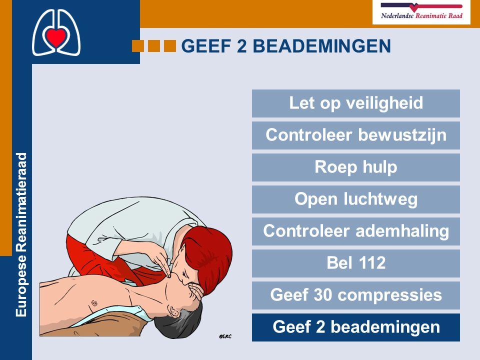 Europese Reanimatieraad GEEF 2 BEADEMINGEN Let op veiligheid Controleer bewustzijn Roep hulp Open luchtweg Controleer ademhaling Bel 112 Geef 30 compr