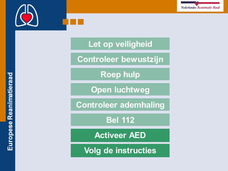 Europese Reanimatieraad Bel 112 Let op veiligheid Controleer bewustzijn Roep hulp Open luchtweg Controleer ademhaling Activeer AED Volg de instructies