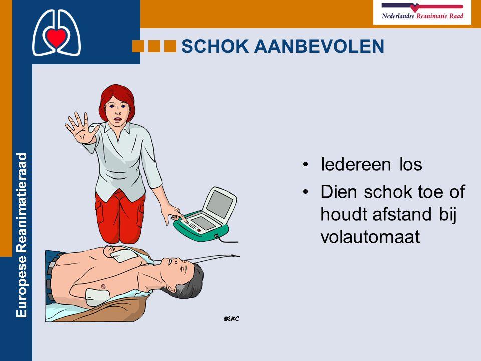 Europese Reanimatieraad SCHOK AANBEVOLEN Iedereen los Dien schok toe of houdt afstand bij volautomaat