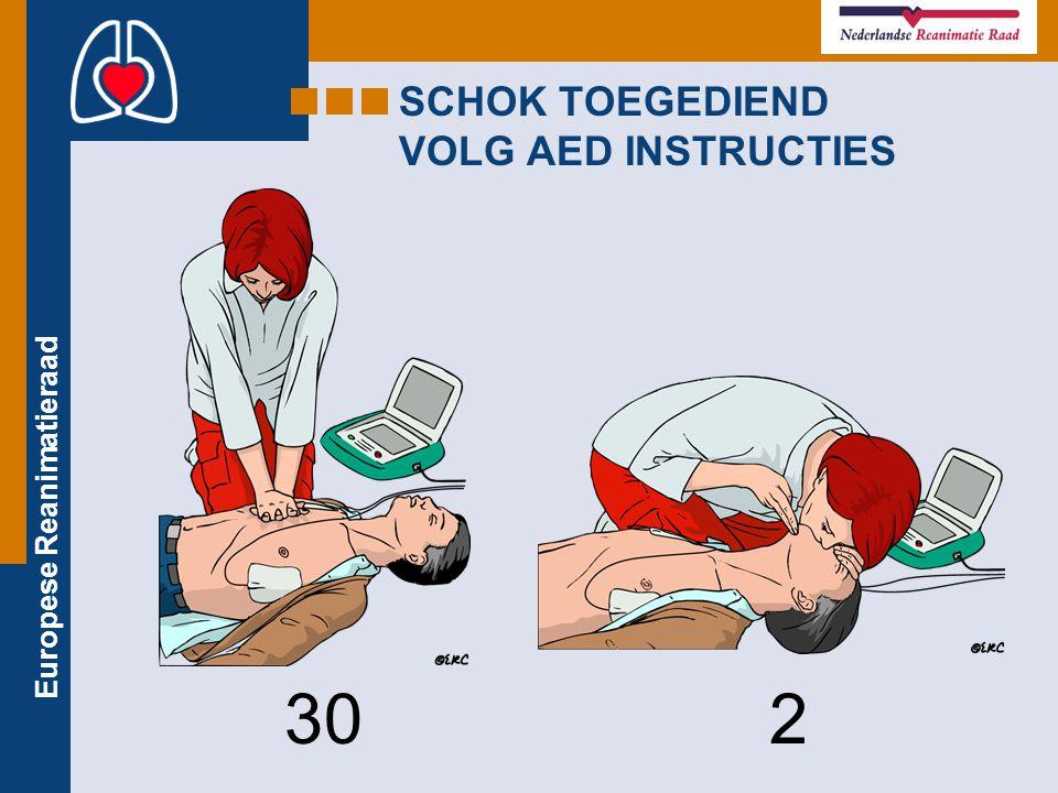 Europese Reanimatieraad SCHOK TOEGEDIEND VOLG AED INSTRUCTIES 30 2