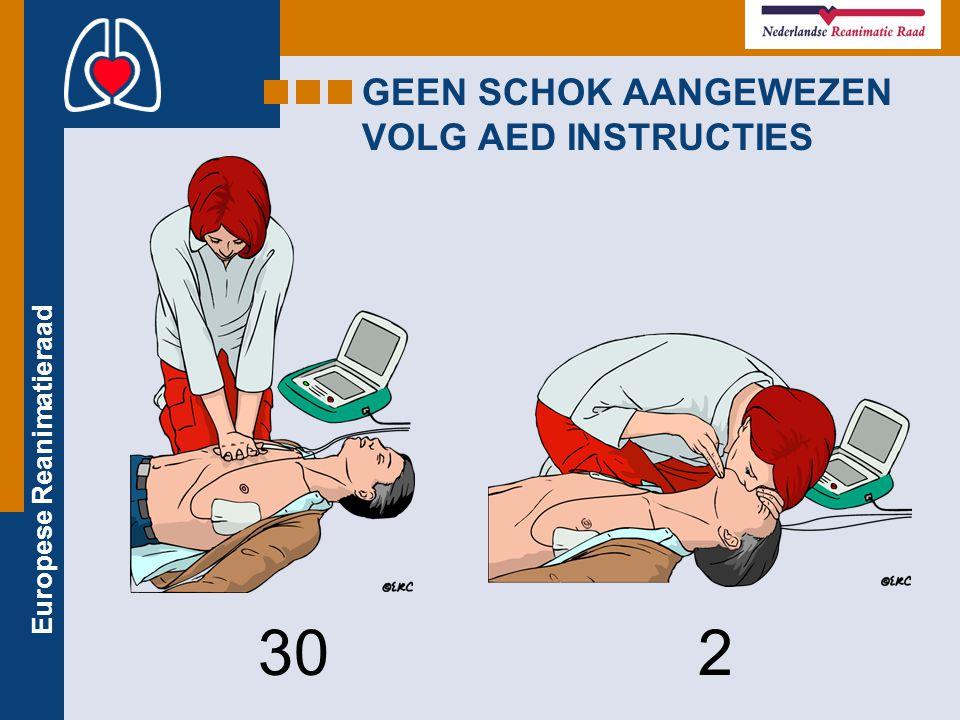 Europese Reanimatieraad GEEN SCHOK AANGEWEZEN VOLG AED INSTRUCTIES 30 2