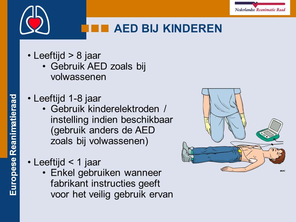 Europese Reanimatieraad AED BIJ KINDEREN Leeftijd > 8 jaar Gebruik AED zoals bij volwassenen Leeftijd 1-8 jaar Gebruik kinderelektroden / instelling i