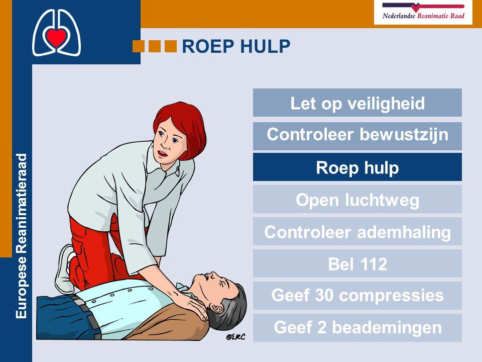 Europese Reanimatieraad ROEP HULP Let op veiligheid Controleer bewustzijn Roep hulp Open luchtweg Controleer ademhaling Bel 112 Geef 30 compressies Ge