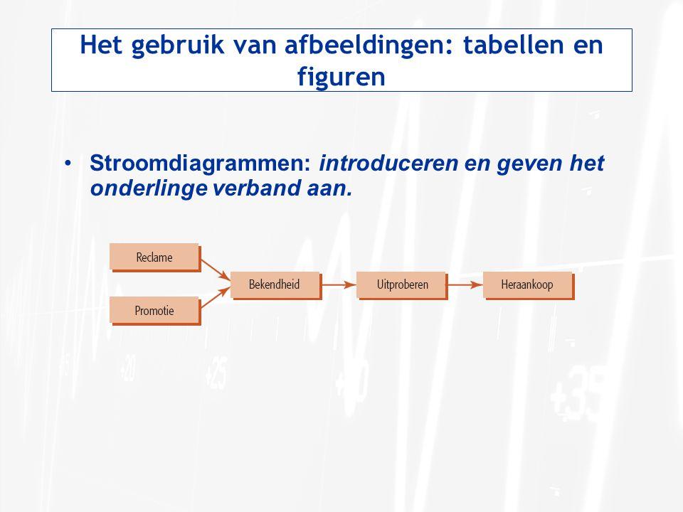 Het gebruik van afbeeldingen: tabellen en figuren Stroomdiagrammen: introduceren en geven het onderlinge verband aan.