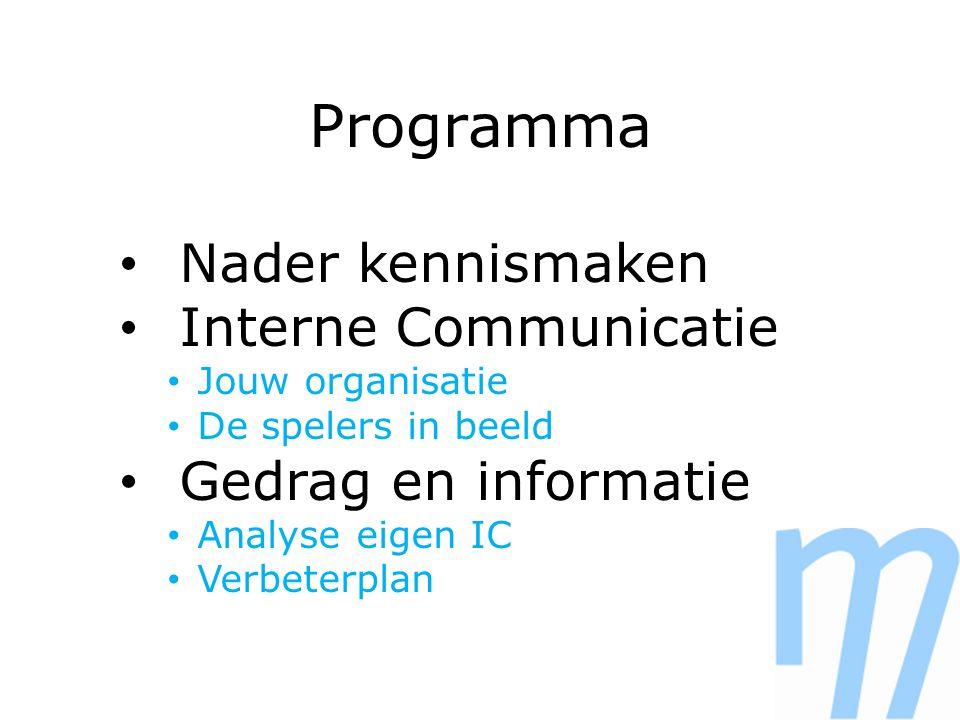 Programma Nader kennismaken Interne Communicatie Jouw organisatie De spelers in beeld Gedrag en informatie Analyse eigen IC Verbeterplan
