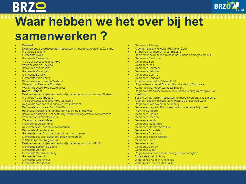 Waar hebben we het over bij het samenwerken ?  Zeeland  Deelnemende overheden aan het bestuurlijk inspectieprogramma Zeeland:  Provincie Zeeland 