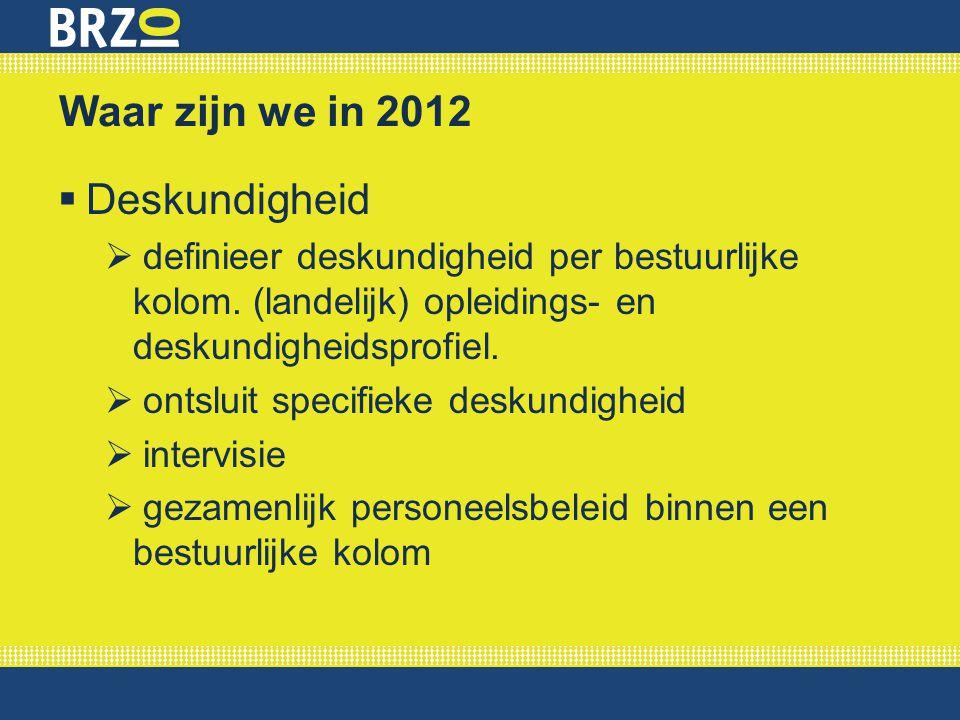 Waar zijn we in 2012  Deskundigheid  definieer deskundigheid per bestuurlijke kolom. (landelijk) opleidings- en deskundigheidsprofiel.  ontsluit sp