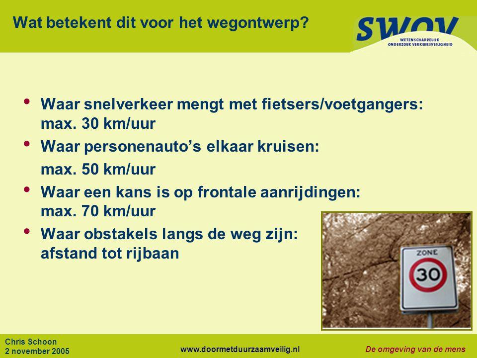 www.doormetduurzaamveilig.nlDe omgeving van de mens Chris Schoon 2 november 2005 Wat betekent dit voor het wegontwerp? Waar snelverkeer mengt met fiet