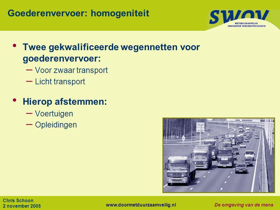www.doormetduurzaamveilig.nlDe omgeving van de mens Chris Schoon 2 november 2005 Goederenvervoer: homogeniteit Twee gekwalificeerde wegennetten voor g