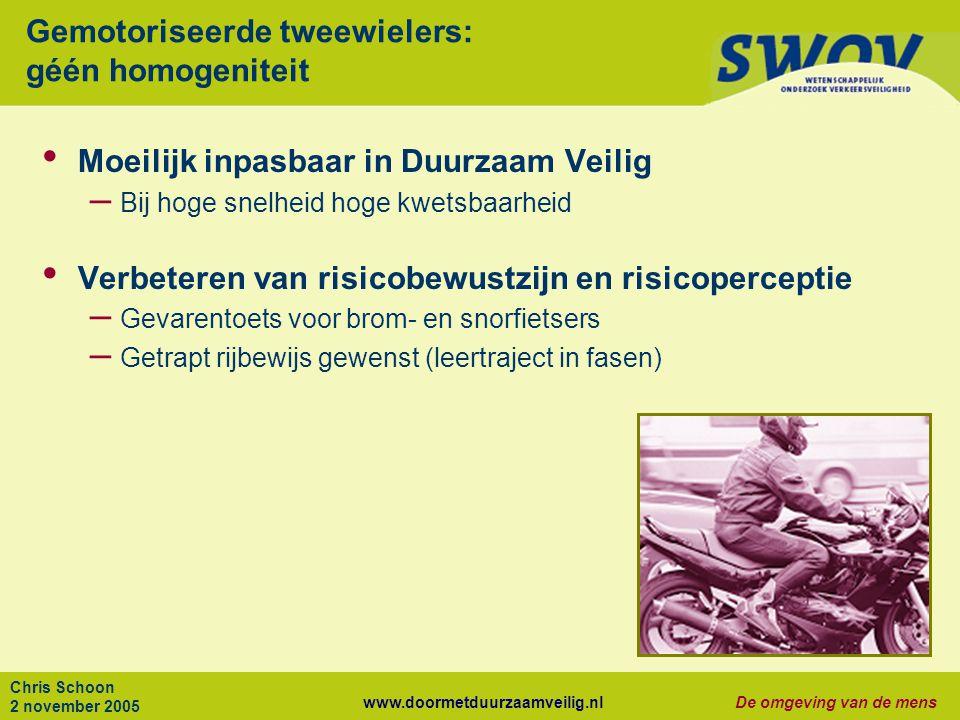 www.doormetduurzaamveilig.nlDe omgeving van de mens Chris Schoon 2 november 2005 Gemotoriseerde tweewielers: géén homogeniteit Moeilijk inpasbaar in D