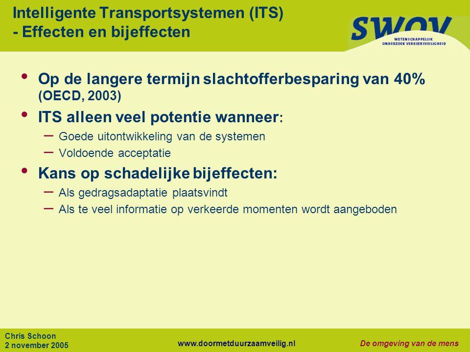 www.doormetduurzaamveilig.nlDe omgeving van de mens Chris Schoon 2 november 2005 Intelligente Transportsystemen (ITS) - Effecten en bijeffecten Op de