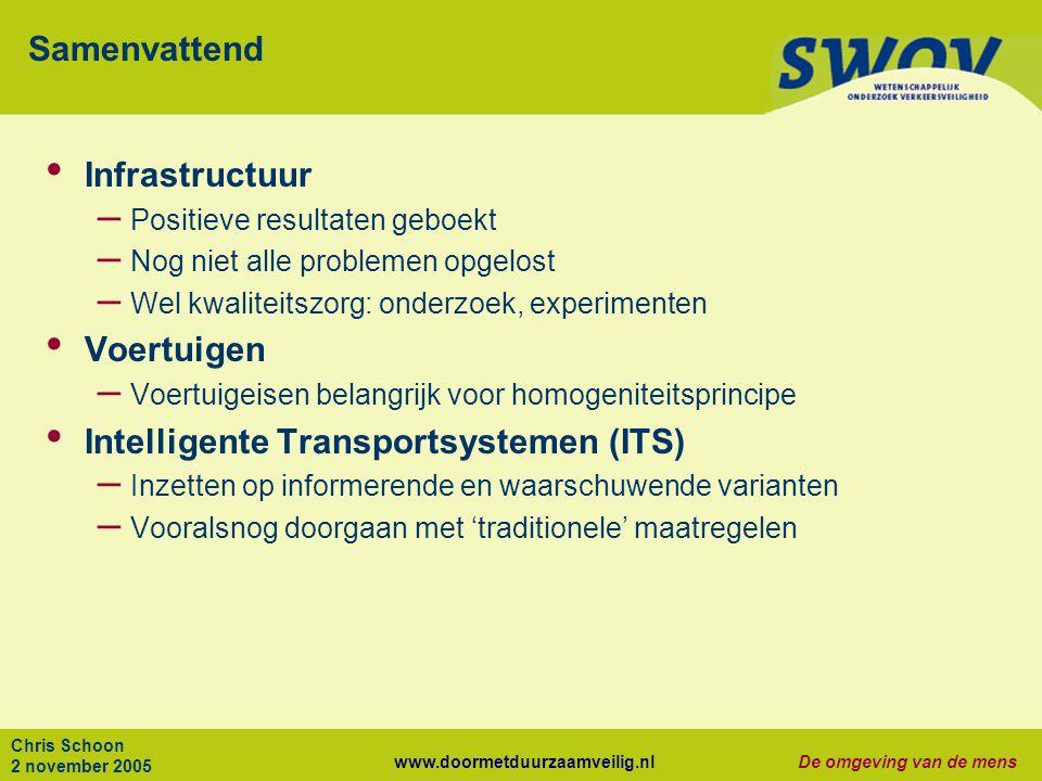 www.doormetduurzaamveilig.nlDe omgeving van de mens Chris Schoon 2 november 2005 Samenvattend Infrastructuur – Positieve resultaten geboekt – Nog niet