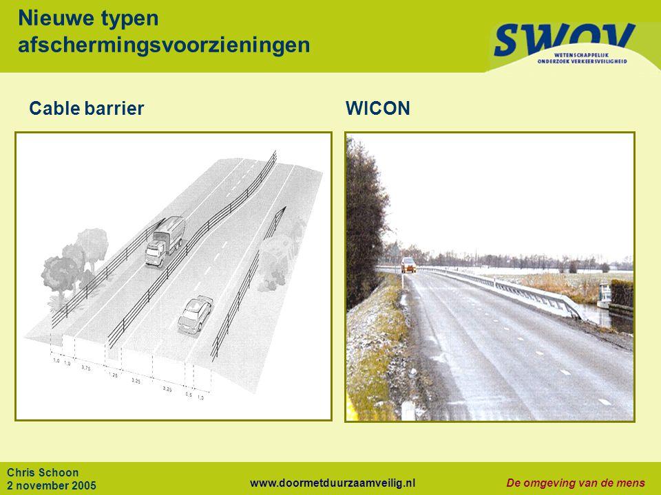 www.doormetduurzaamveilig.nlDe omgeving van de mens Chris Schoon 2 november 2005 Nieuwe typen afschermingsvoorzieningen Cable barrierWICON