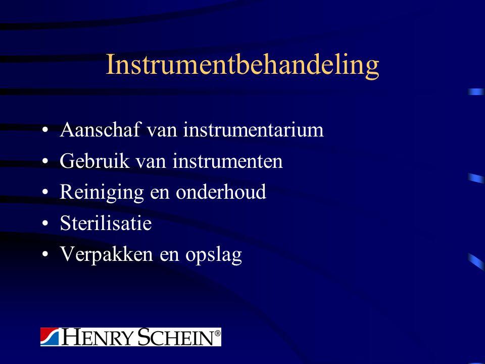 Instrumentbehandeling Aanschaf van instrumentarium Gebruik van instrumenten Reiniging en onderhoud Sterilisatie Verpakken en opslag