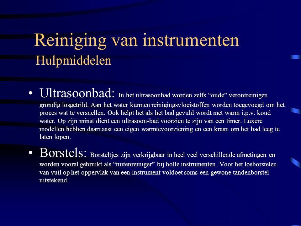 """Reiniging van instrumenten Ultrasoonbad: In het ultrasoonbad worden zelfs """"oude"""" verontreinigen grondig losgetrild. Aan het water kunnen reinigingsvlo"""