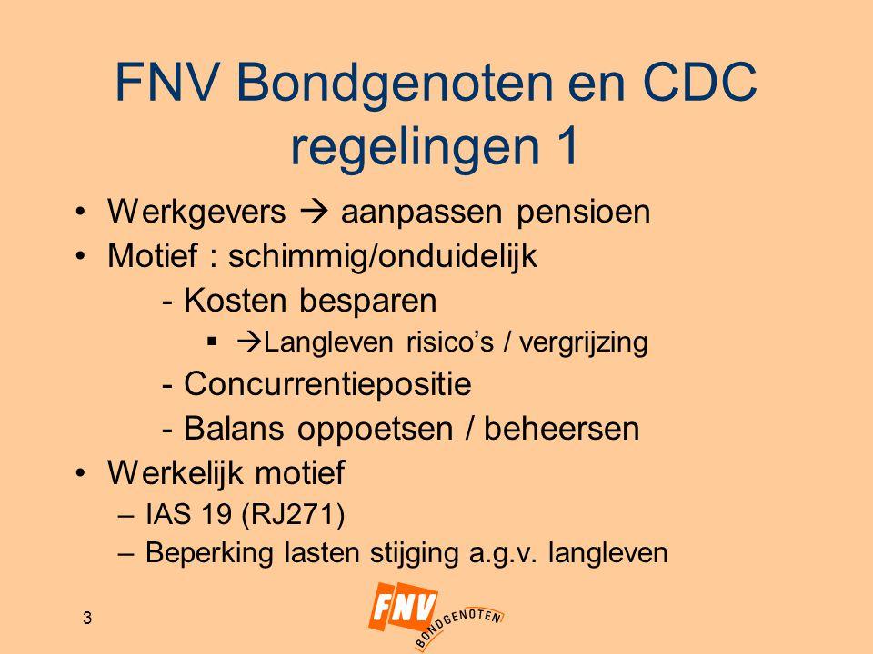 3 FNV Bondgenoten en CDC regelingen 1 Werkgevers  aanpassen pensioen Motief : schimmig/onduidelijk -Kosten besparen   Langleven risico's / vergrijz