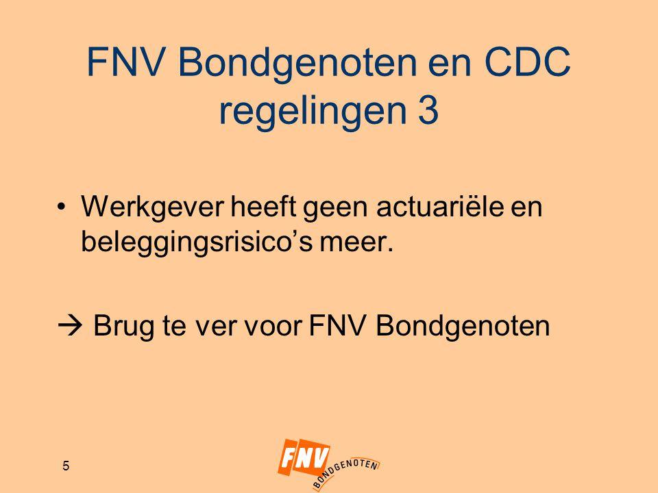 5 FNV Bondgenoten en CDC regelingen 3 Werkgever heeft geen actuariële en beleggingsrisico's meer.  Brug te ver voor FNV Bondgenoten