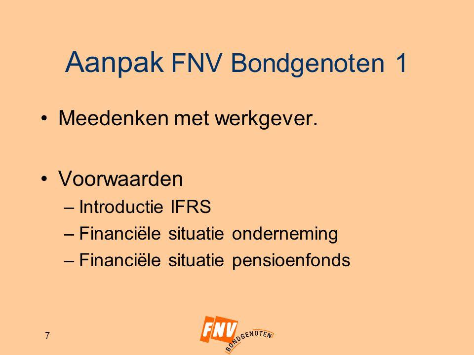 7 Aanpak FNV Bondgenoten 1 Meedenken met werkgever. Voorwaarden –Introductie IFRS –Financiële situatie onderneming –Financiële situatie pensioenfonds