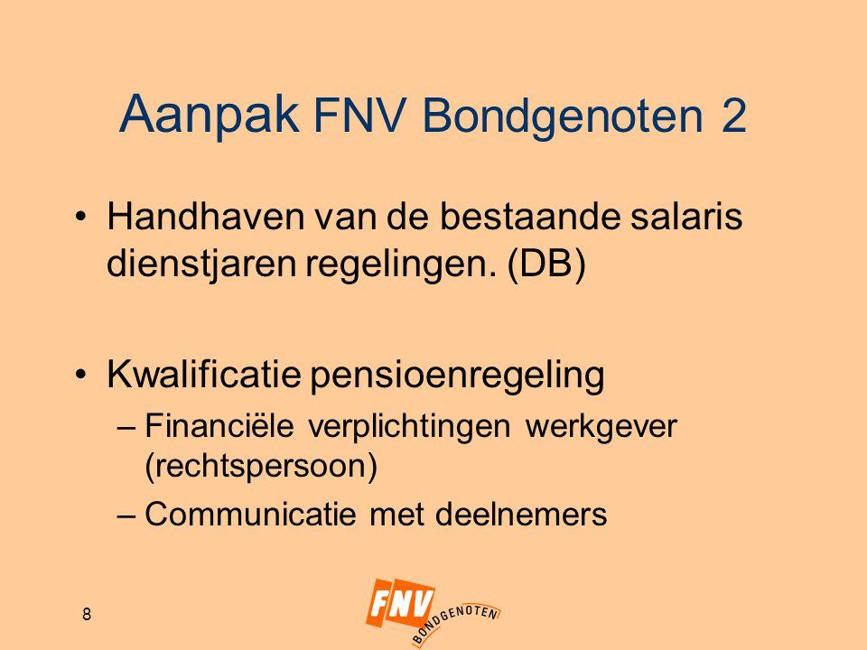 8 Aanpak FNV Bondgenoten 2 Handhaven van de bestaande salaris dienstjaren regelingen. (DB) Kwalificatie pensioenregeling –Financiële verplichtingen we