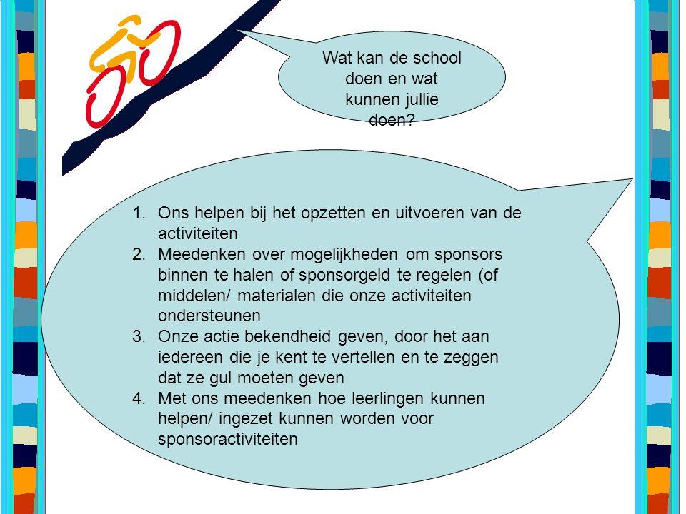 Wat kan de school doen en wat kunnen jullie doen? 1.Ons helpen bij het opzetten en uitvoeren van de activiteiten 2.Meedenken over mogelijkheden om spo