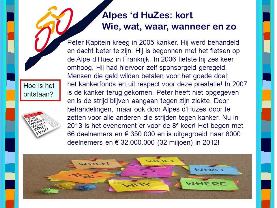 Alpes 'd HuZes: kort Wie, wat, waar, wanneer en zo Peter Kapitein kreeg in 2005 kanker. Hij werd behandeld en dacht beter te zijn. Hij is begonnen met