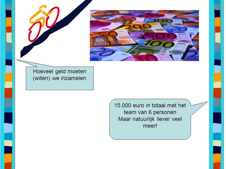 Hoeveel geld moeten (willen) we inzamelen 15.000 euro in totaal met het team van 6 personen Maar natuurlijk liever veel meer!