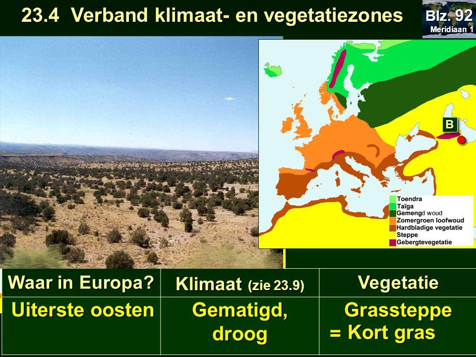 21.22 Europa klimaat 23.4 Verband klimaat- en vegetatiezones 23.4 Verband klimaat- en vegetatiezones Meridiaan 1 Meridiaan 1 Blz. 92 Waar in Europa? K