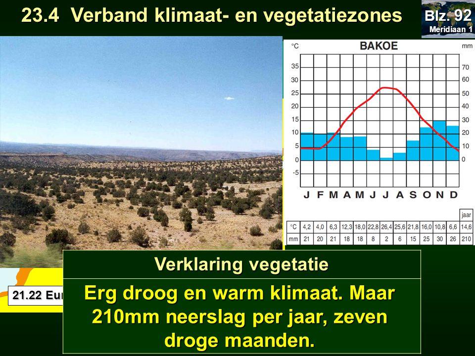 21.22 Europa klimaat 23.4 Verband klimaat- en vegetatiezones 23.4 Verband klimaat- en vegetatiezones Meridiaan 1 Meridiaan 1 Blz. 92 BB 41°N 50°O 1 m