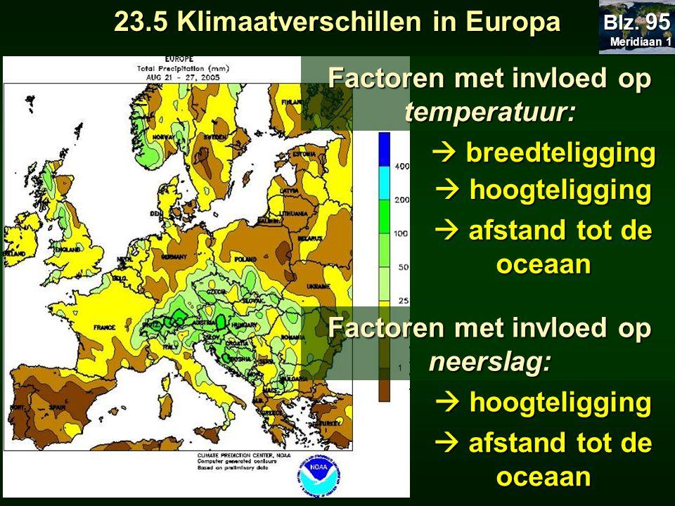 Factoren met invloed op temperatuur:  breedteligging  hoogteligging  afstand tot de oceaan Factoren met invloed op neerslag:  hoogteligging  afst
