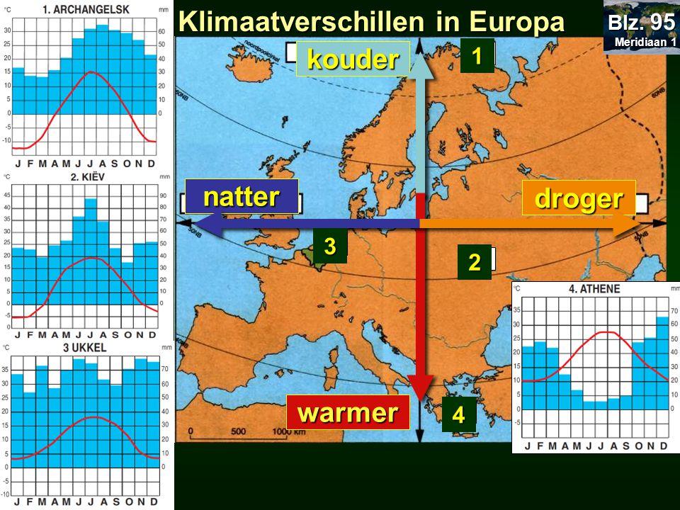 23.5 Klimaatverschillen in Europa Meridiaan 1 Meridiaan 1 Blz. 95 kouder natter droger warmer 23.23 Europa temperatuur neerslag D B C A 4 1 2 3