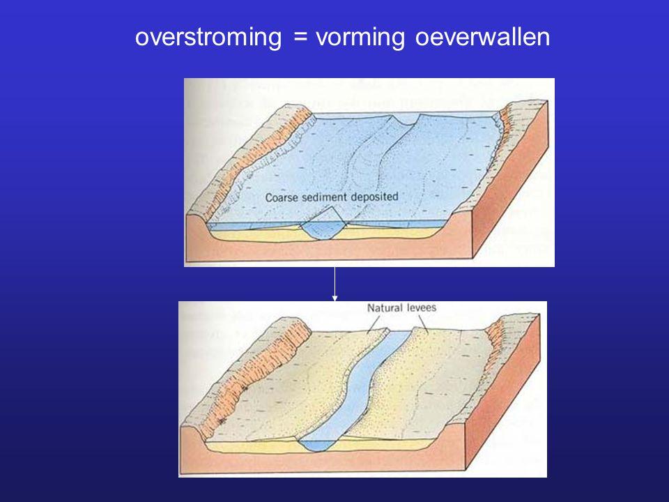 overstroming = vorming oeverwallen