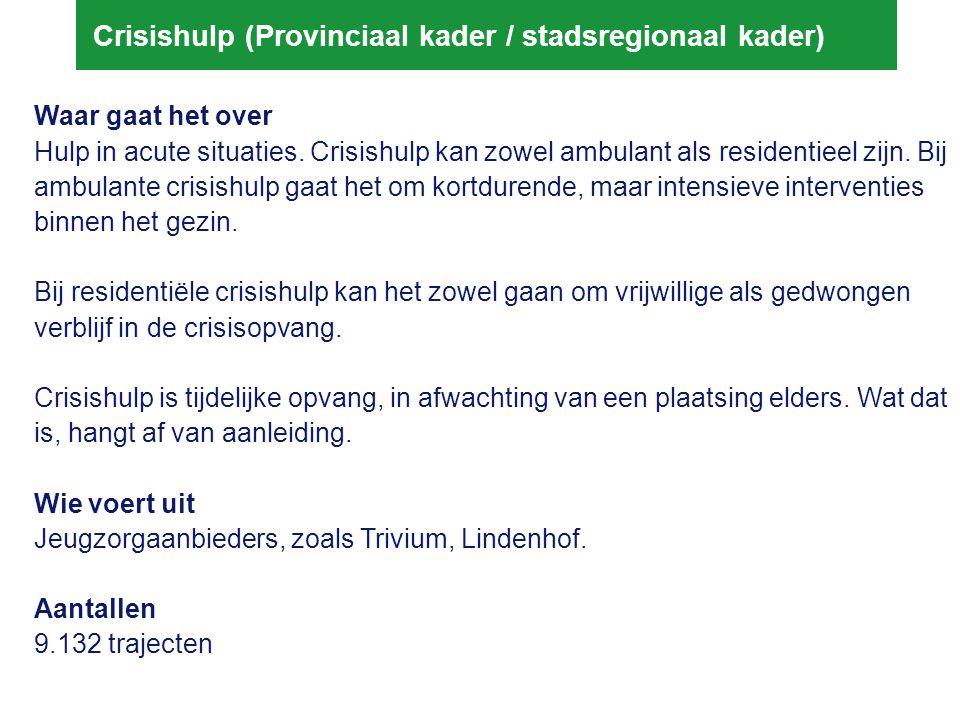 Crisishulp (Provinciaal kader / stadsregionaal kader) Waar gaat het over Hulp in acute situaties. Crisishulp kan zowel ambulant als residentieel zijn.