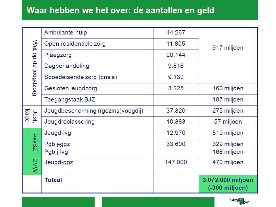 Waar hebben we het over: de aantallen en geld Wet op de jeugdzorg Ambulante hulp44.267 917 miljoen Open residentiële zorg11.805 Pleegzorg20.144 Dagbeh