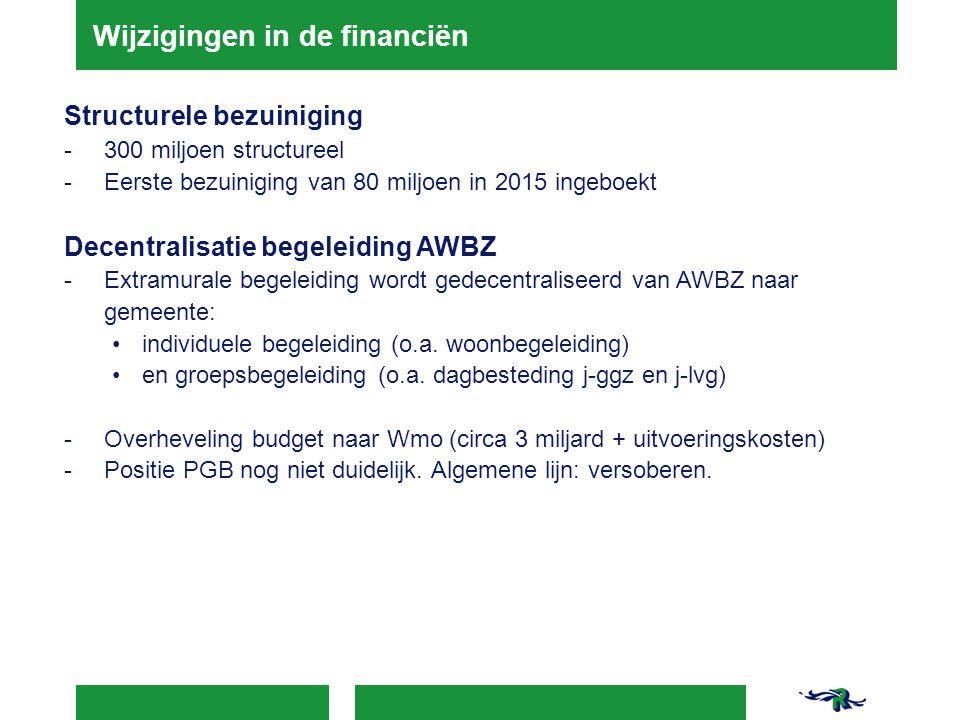 Wijzigingen in de financiën Structurele bezuiniging - 300 miljoen structureel - Eerste bezuiniging van 80 miljoen in 2015 ingeboekt Decentralisatie be