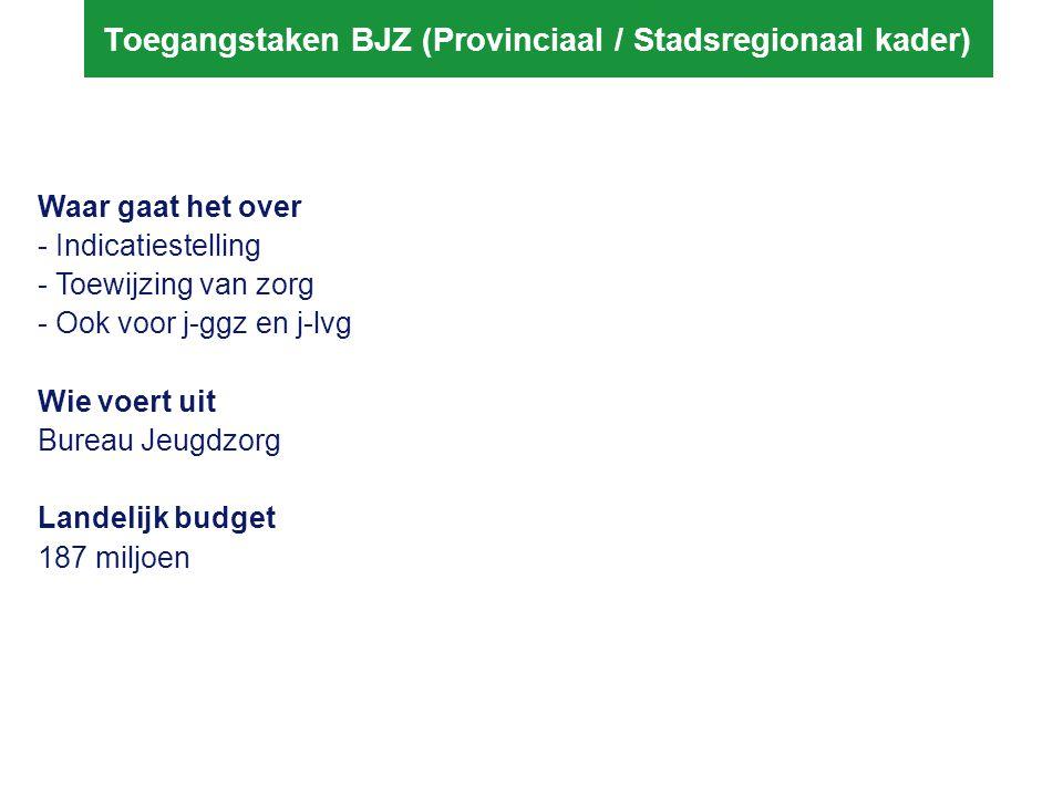 Toegangstaken BJZ (Provinciaal / Stadsregionaal kader) Waar gaat het over - Indicatiestelling - Toewijzing van zorg - Ook voor j-ggz en j-lvg Wie voer