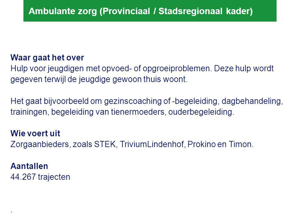 Gezamelijke agenda stadsregio Inzet - Stadsregio trekt gezamenlijk op in de voorbereiding op de decentralisatie - Tegelijkertijd: bekijken welke opgaven waar worden opgepakt (lokaal, subregionaal, stadsregionaal) Gezamenlijke uitgangspunten voor het proces: - Inhoudelijke uitgangspunten (opvoedcontext, samenhangende zorgstructuur) - Verbinding tussen de opgaven van gemeenten als regisseur en uitvoerders - Gezamenlijke programmaorganisatie - Bestuurlijke borging (bestuurlijke conferentie, programmaplan, transitieplan, bestuurlijke afvaardiging) - Proeftuinen Stadsregio trekt gezamenlijk op in de voorbereiding op de decentralisatie
