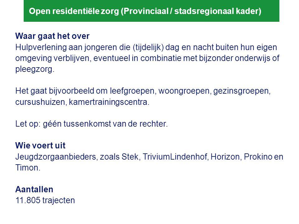Open residentiële zorg (Provinciaal / stadsregionaal kader) Waar gaat het over Hulpverlening aan jongeren die (tijdelijk) dag en nacht buiten hun eige