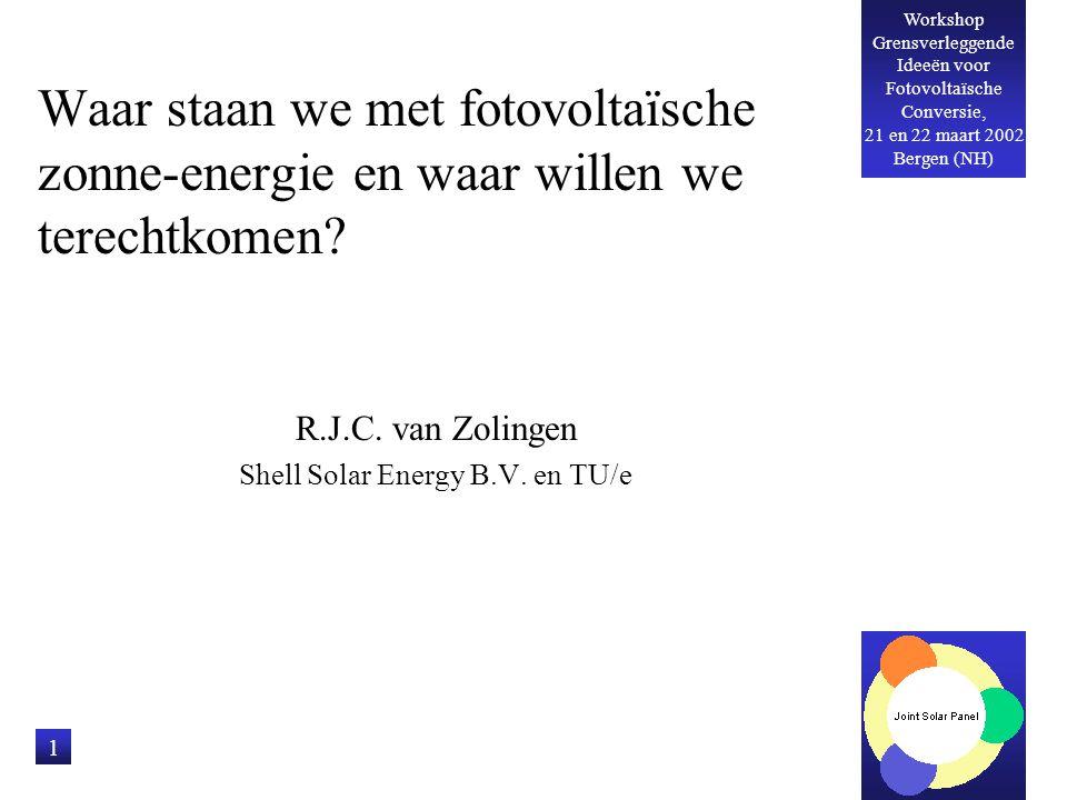 Workshop Grensverleggende Ideeën voor Fotovoltaïsche Conversie, 21 en 22 maart 2002 Bergen (NH) 12 Kleurgesensibiliseerde en plastic zonnecellen Lange termijn, lage kosten optie Omvangrijke R&D programma's in Nederland Nog in zeer vroeg stadium van ontwikkeling