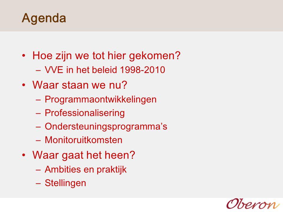 Agenda Hoe zijn we tot hier gekomen.–VVE in het beleid 1998-2010 Waar staan we nu.