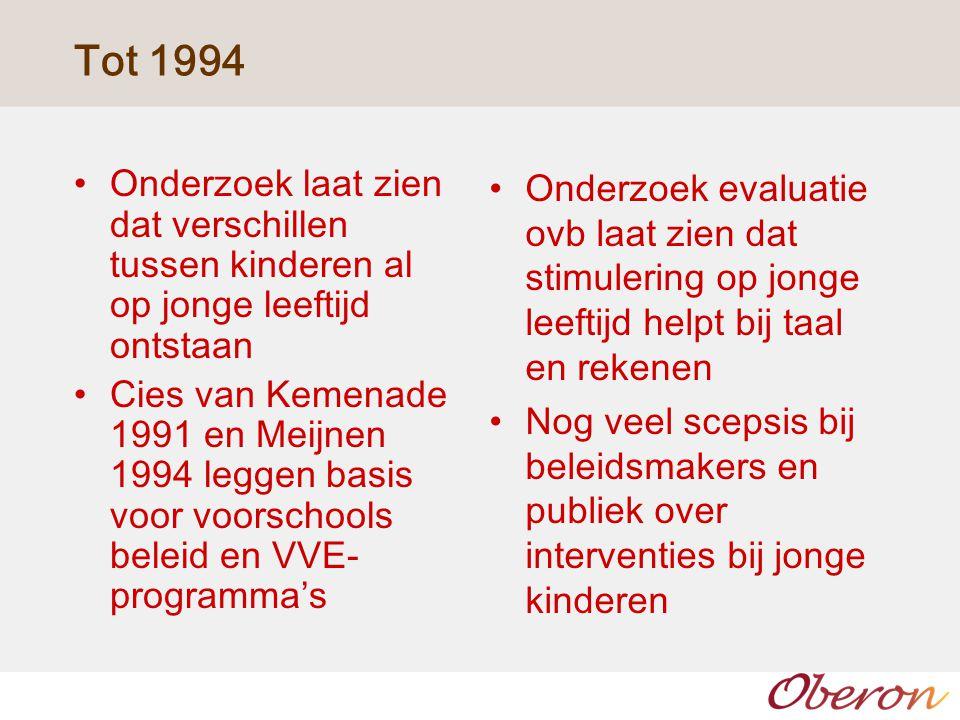 1995 -2000 OCW faciliteert ontwikkeling van stimuleringsprogramma's voor jonge kinderen (VVE), Piramide, Kaleidoscoop Eisen minimaal 4 dagdelen, dubbele bezetting, mbo niveau leidster, hbo niveau leerkracht, leidster – kindratio 2:20 resp 2:25 Bodem voor beleid gelegd, evaluaties redelijk positief