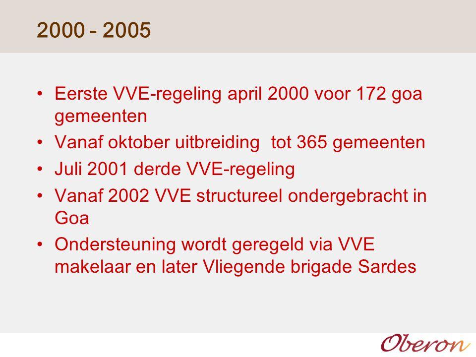 2000 - 2005 Eerste VVE-regeling april 2000 voor 172 goa gemeenten Vanaf oktober uitbreiding tot 365 gemeenten Juli 2001 derde VVE-regeling Vanaf 2002 VVE structureel ondergebracht in Goa Ondersteuning wordt geregeld via VVE makelaar en later Vliegende brigade Sardes