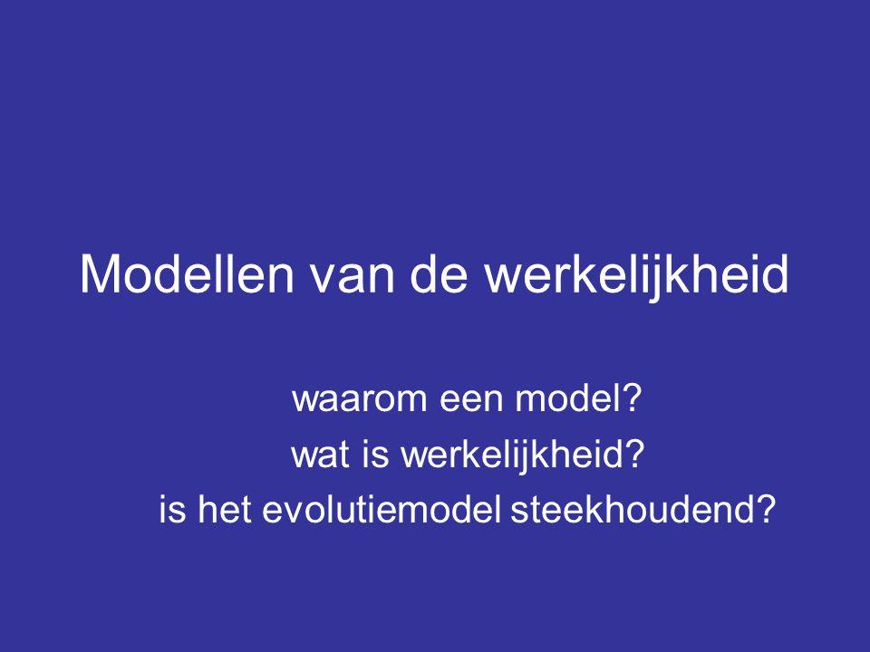 Samenvatting het model wordt opgesteld om –werkelijkheid te kunnen bevatten –mee te kunnen werken/rekenen –voorspellingen te kunnen doen Het model is praktisch te controleren (verifiëren)