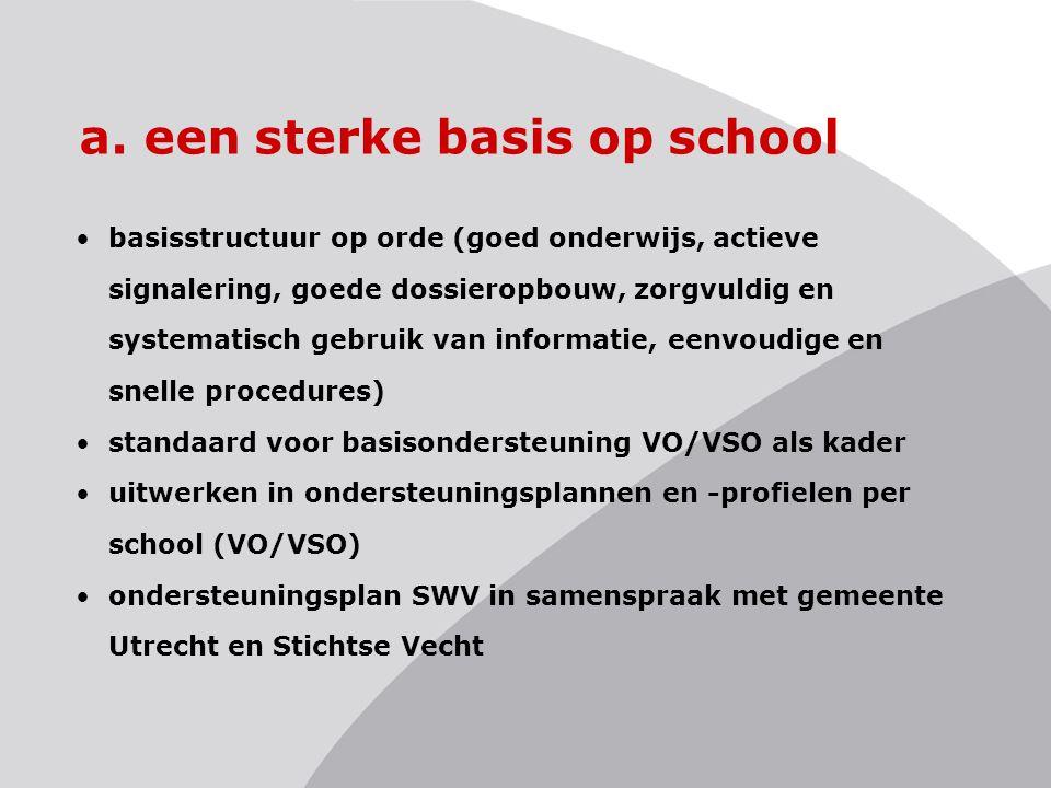 a. een sterke basis op school basisstructuur op orde (goed onderwijs, actieve signalering, goede dossieropbouw, zorgvuldig en systematisch gebruik van