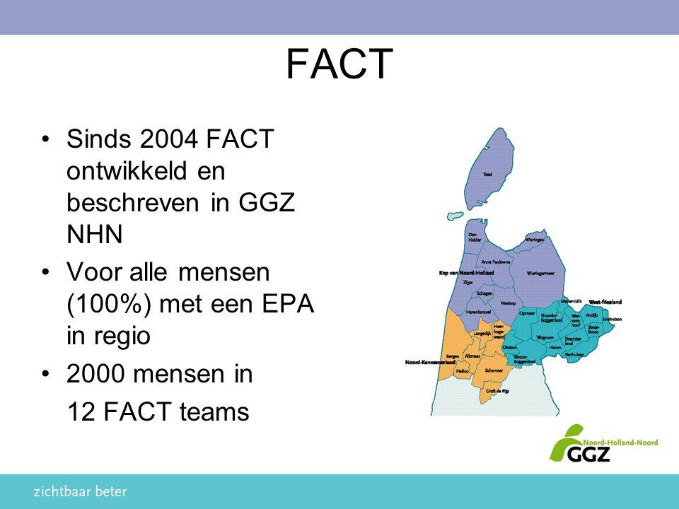 FACT Sinds 2004 FACT ontwikkeld en beschreven in GGZ NHN Voor alle mensen (100%) met een EPA in regio 2000 mensen in 12 FACT teams