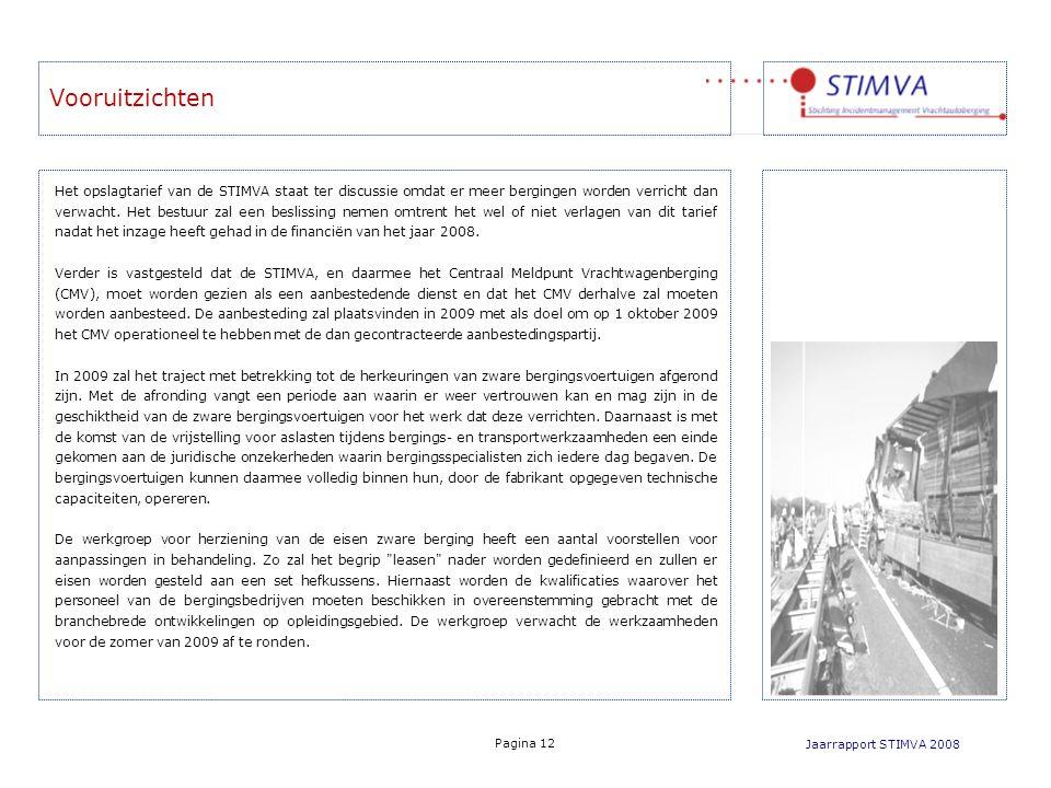 Vooruitzichten Jaarrapport STIMVA 2008 Pagina 12 Het opslagtarief van de STIMVA staat ter discussie omdat er meer bergingen worden verricht dan verwacht.