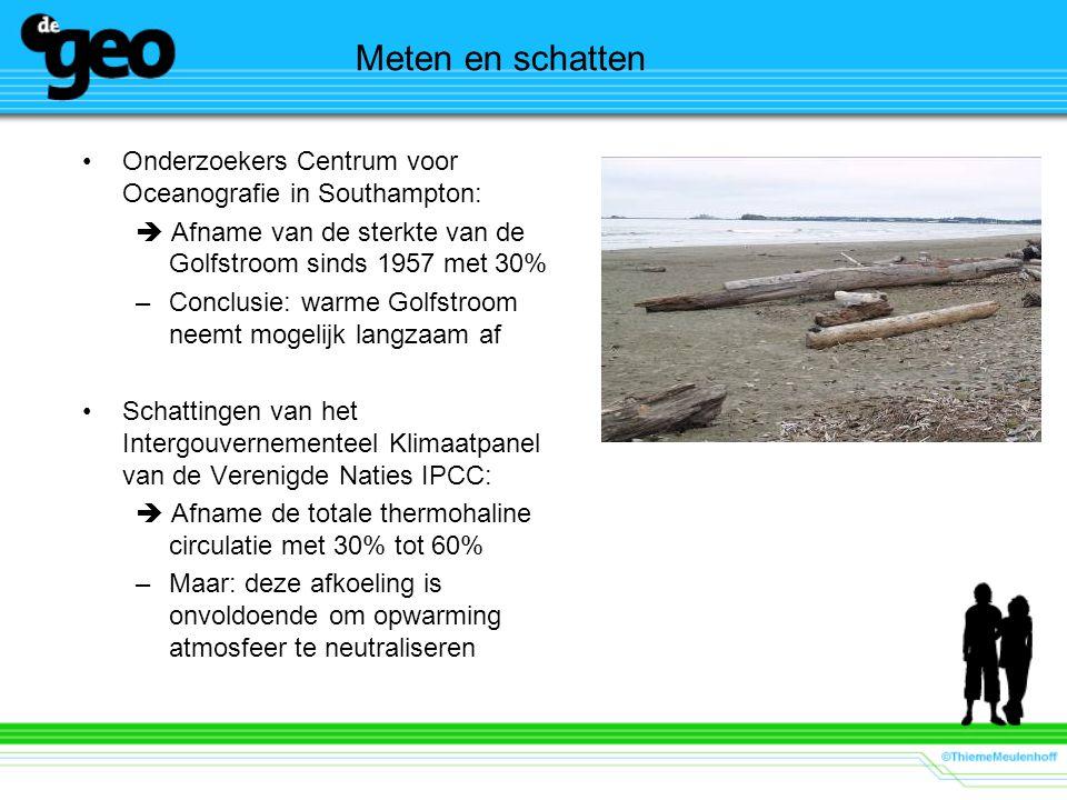 Meten en schatten Onderzoekers Centrum voor Oceanografie in Southampton:  Afname van de sterkte van de Golfstroom sinds 1957 met 30% –Conclusie: warm