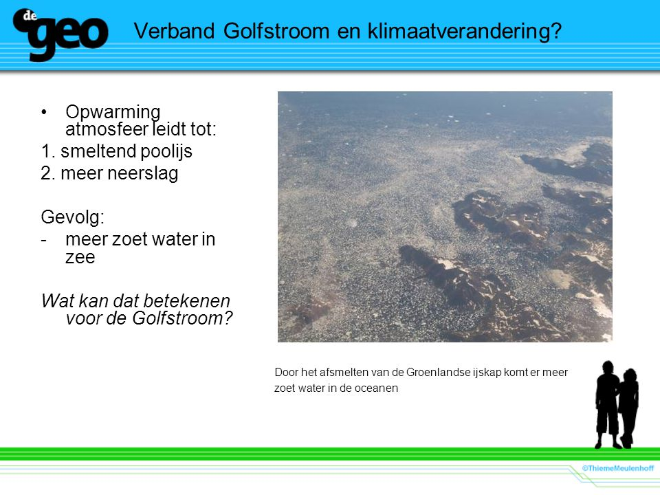 Verband Golfstroom en klimaatverandering? Opwarming atmosfeer leidt tot: 1. smeltend poolijs 2. meer neerslag Gevolg: -meer zoet water in zee Wat kan