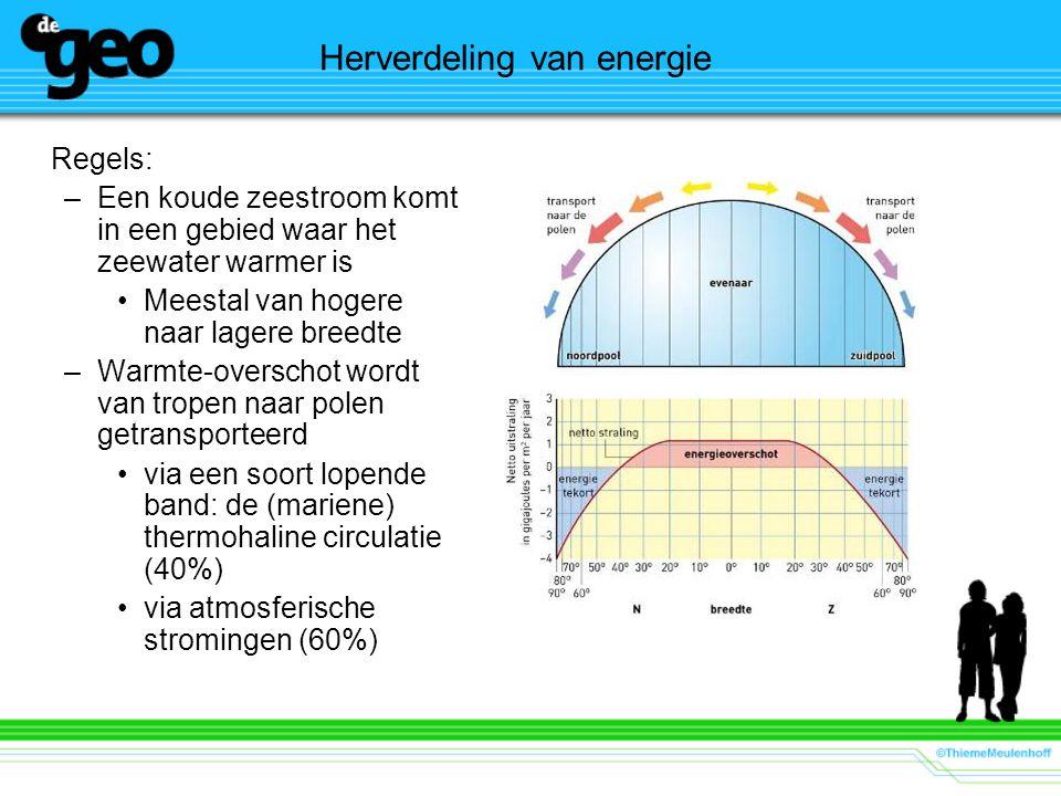 Herverdeling van energie Regels: –Een koude zeestroom komt in een gebied waar het zeewater warmer is Meestal van hogere naar lagere breedte –Warmte-ov