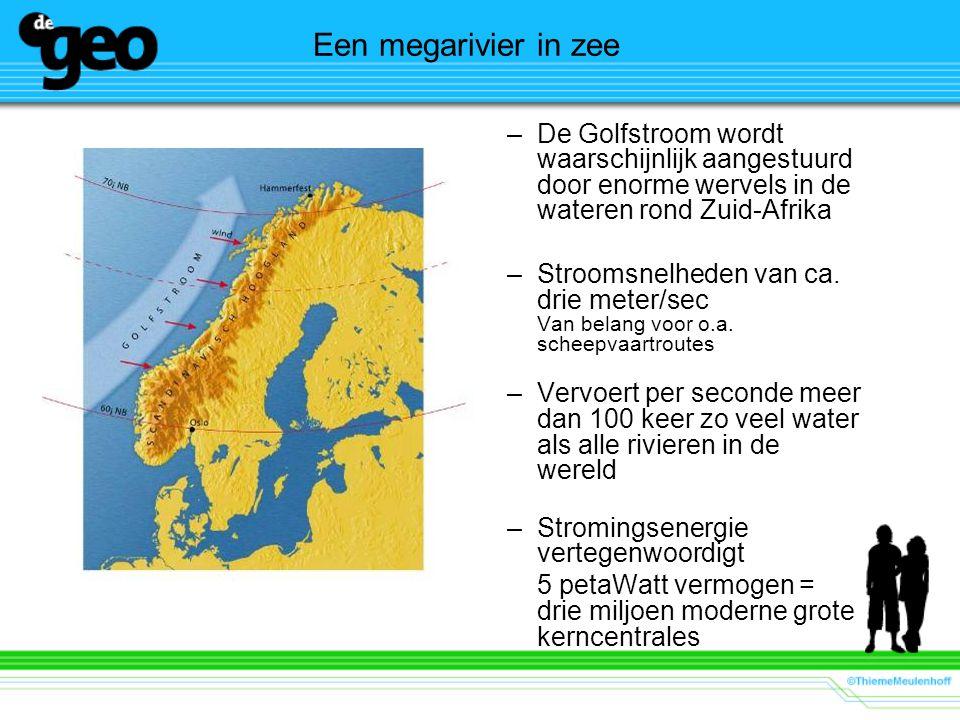 Een megarivier in zee –De Golfstroom wordt waarschijnlijk aangestuurd door enorme wervels in de wateren rond Zuid-Afrika –Stroomsnelheden van ca. drie