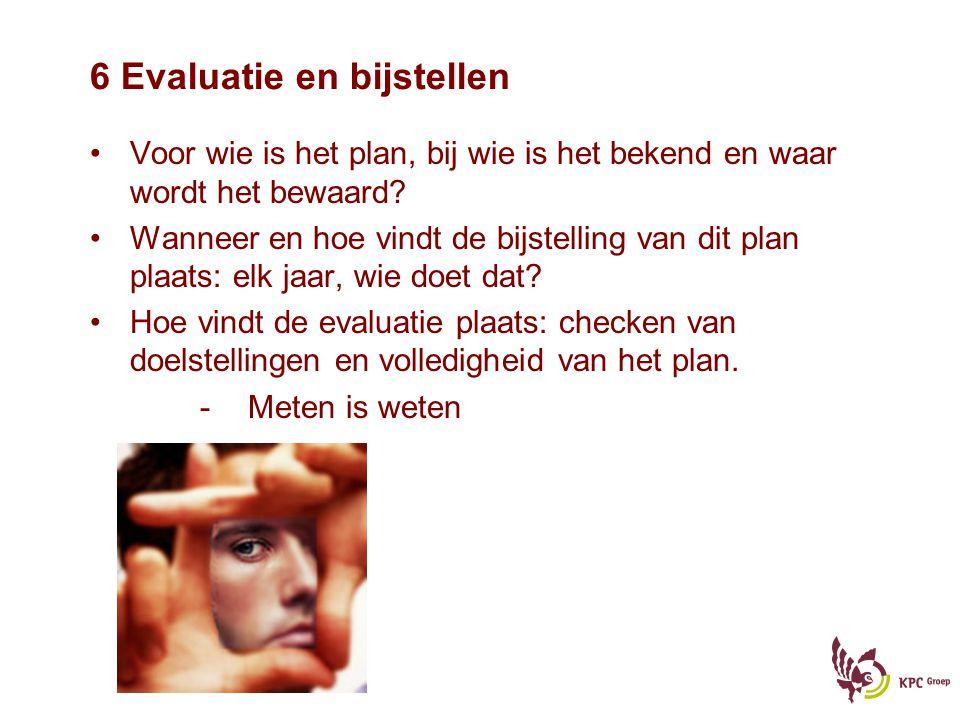 6 Evaluatie en bijstellen Voor wie is het plan, bij wie is het bekend en waar wordt het bewaard? Wanneer en hoe vindt de bijstelling van dit plan plaa